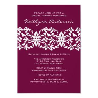 Plum & White Damask Bridal Shower Invitation
