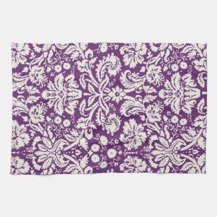Plum White Damask Pattern Towel