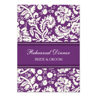 Plum White Damask Rehearsal Dinner Party 5x7 Paper Invitation Card