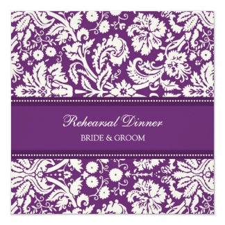 Plum White Damask Rehearsal Dinner Party 5.25x5.25 Square Paper Invitation Card