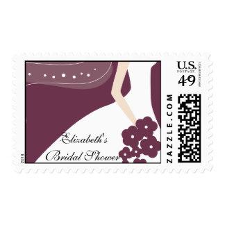 Plum/White Modern Bride Bridal Shower Stamp