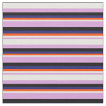 [ Thumbnail: Plum, White, Red, Midnight Blue, and Black Lines Fabric ]