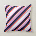[ Thumbnail: Plum, White, Red, Midnight Blue, and Black Lines Throw Pillow ]