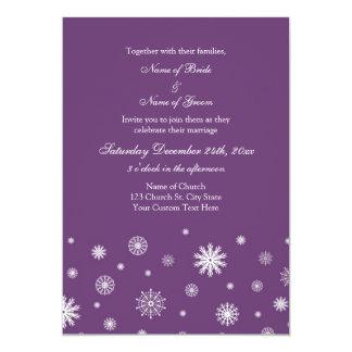 Plum White Snow Winter Wedding Invitation Cards