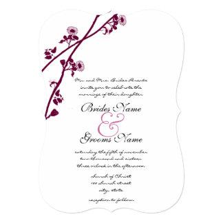 Plum Wild Flower Branches Wedding Invitation