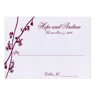 Plum Wild Flower Branches Wedding PlaceCard Large Business Card