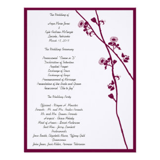 Plum Wild Flower Branches Wedding Program- Letterhead