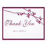 "Plum Wild Flower Branches Wedding Thank You 4.25"" X 5.5"" Invitation Card"