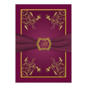 Plum Wine and Gold Monogram Wedding Invitation 5