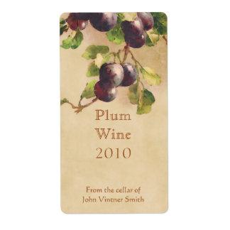 Plum wine bottle label