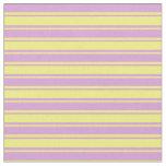 [ Thumbnail: Plum & Yellow Colored Striped Pattern Fabric ]