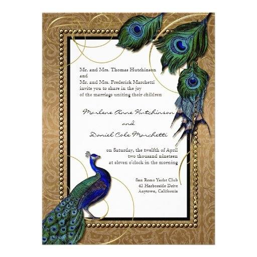 Pluma 7 del pavo real del vintage - boda elegante  invitacion personalizada