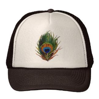 Pluma antigua del pavo real gorras