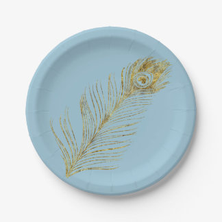 Pluma atractiva del pavo real del oro plato de papel de 7 pulgadas
