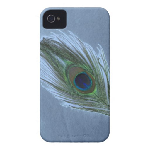 Pluma azul D del pavo real Case-Mate iPhone 4 Coberturas