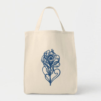 Pluma azul del pavo real bolsa tela para la compra