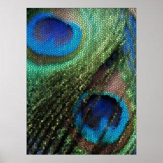 Pluma azul del pavo real con efecto del vitral póster