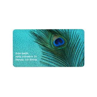 Pluma azul del pavo real de la aguamarina metálica etiqueta de dirección