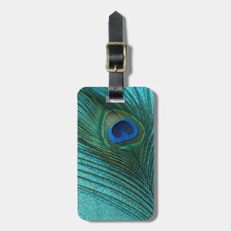Pluma azul del pavo real de la aguamarina metálica etiquetas bolsa