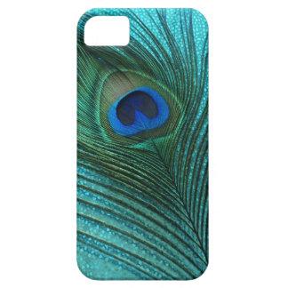 Pluma azul del pavo real de la aguamarina metálica iPhone 5 coberturas