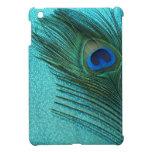 Pluma azul del pavo real de la aguamarina metálica iPad mini protector
