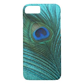 Pluma azul del pavo real de la aguamarina metálica funda iPhone 7