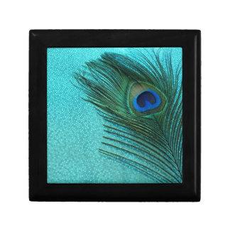 Pluma azul del pavo real de la aguamarina metálica joyero cuadrado pequeño
