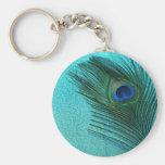 Pluma azul del pavo real de la aguamarina metálica llaveros