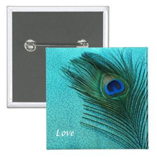 Pluma azul del pavo real de la aguamarina metálica pin