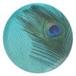 Pluma azul del pavo real de la aguamarina metálica plato de cena