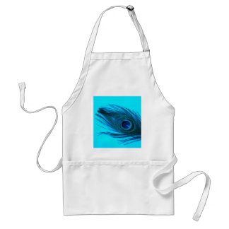 Pluma azul del pavo real delantal