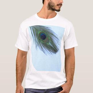 Pluma azul del pavo real playera