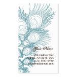 Pluma azul del pavo real tarjetas de visita