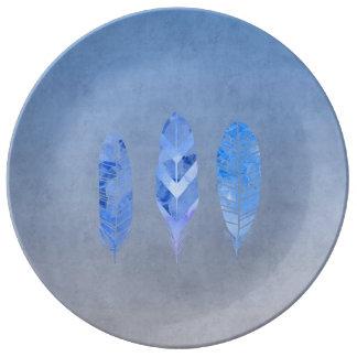 Pluma azul plato de cerámica