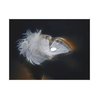 Pluma blanca con una gota de agua impresiones en lona