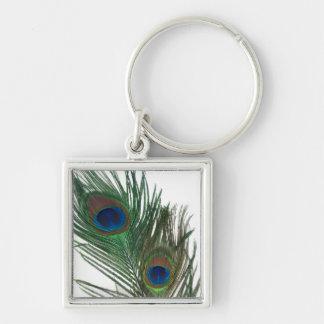 Pluma blanca preciosa del pavo real llavero cuadrado plateado