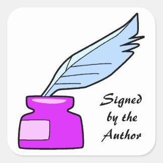 Pluma de canilla firmada por el autor pegatina cuadrada