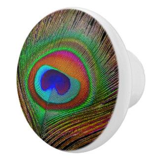 Pluma de cobre vibrante del pavo real pomo de cerámica