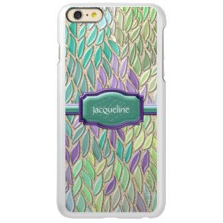 Pluma de cristal del mosaico del mar del pavo real