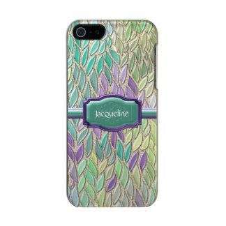 Pluma de cristal del mosaico del mar del pavo real carcasa de iphone 5 incipio feather shine