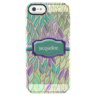 Pluma de cristal del mosaico del mar del pavo real funda clearly™ deflector para iPhone 5 de uncommon