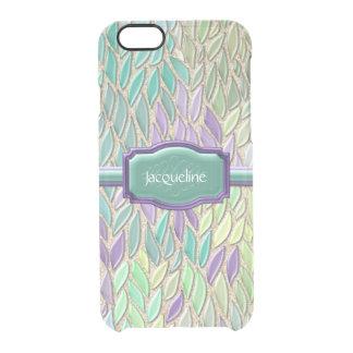 Pluma de cristal del mosaico del mar del pavo real funda clearly™ deflector para iPhone 6 de uncommon