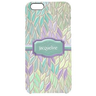 Pluma de cristal del mosaico del mar del pavo real funda clearly™ deflector para iPhone 6 plus de unc
