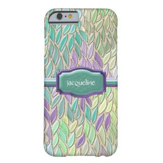 Pluma de cristal del mosaico del mar del pavo real funda de iPhone 6 barely there