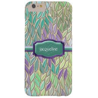 Pluma de cristal del mosaico del mar del pavo real funda para iPhone 6 plus barely there