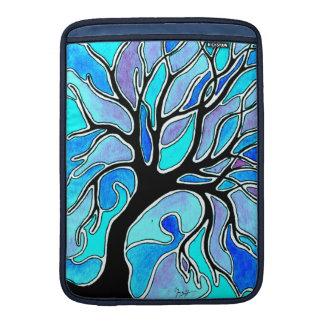 Pluma de la acuarela y árbol de la tinta - azul funda macbook air
