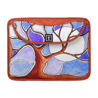 Pluma de la acuarela y árbol de la tinta - azul fundas para macbook pro