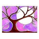 Pluma de la acuarela y árbol de la tinta postal