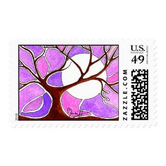 Pluma de la acuarela y árbol de la tinta franqueo