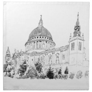 Pluma de la catedral de San Pablo y dibujo de la Servilletas Imprimidas